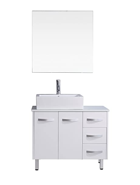Virtu USA UM-3069-S-WH Modern 40-Inch Single Sink Bathroom Vanity Set with Polished Chrome Faucet, White
