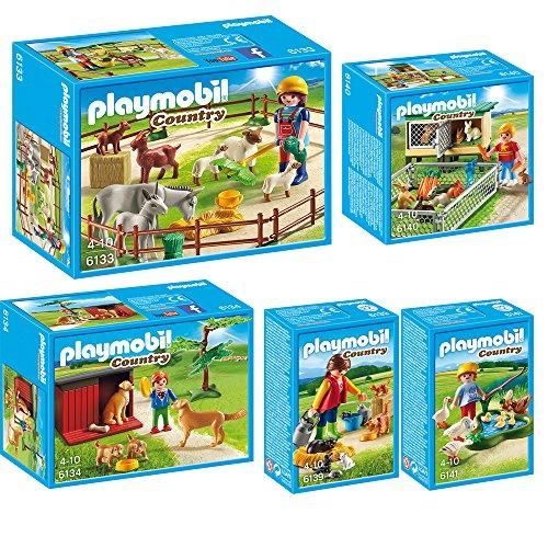 PLAYMOBIL Country 5-teiliges Bauernhof-Set 6133 6134 6139 6140 6141 Tierweide + Golden Retriever Familie + Katzenfamilie + Hasenstall + Enten & Gänse