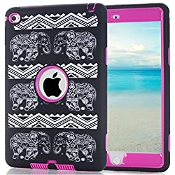 iPad mini 4 Case, HOcase Hybrid Impact Defender Rugged Shockproof Silicone Protective Case Cover for Apple iPad mini 4 - Elephant / Deep Pink