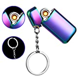 Mini USB Lighter Keychain Windproof Rechargeable Flameless Eelectronic Lighter (Purple) (Color: Purple, Tamaño: small)