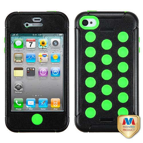 Fits Apple Iphone 4 4S Hard Plastic Snap On Cover Natural Black/Electric Green Tuff Hybrid At&T, Verizon (Does Not Fit Apple Iphone Or Iphone 3G/3Gs Or Iphone 5)