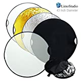 LimoStudio 43 Inch Photo / Video Studio Reflector, New Hand Held 5-in-1 Collapsible Lighting Reflector Disc Board Panel, Photography Studio, AGG736 (Color: Black, White, Gold, Silver, Translucent White, Tamaño: 43 Inch Diameter)