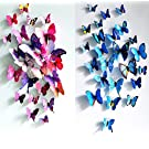 Sangu 3D Colorful Blue Butterfly Removable Mural Wall Stickers Wall Decal for Home Decor(Colorful blue)
