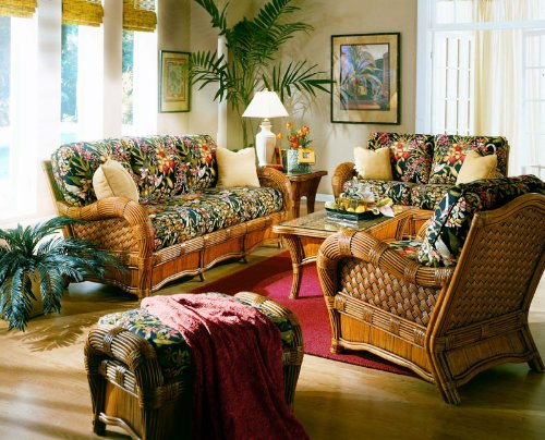 Kingston Reef-Wicker Rattan 5 Pc. Living Room Set,Color|Cinnamon,Size|82W X 36D X 36H,Pattern|Husk Chocolate front-1046870