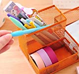 Pencil Holders/Desk Supplies Organizer/Pen Container/Brush Pot, Easy To Clean, Fashion; 1PCS, Metal, Mesh Collection, 3 Compartments, 20*10*10cm, Orange