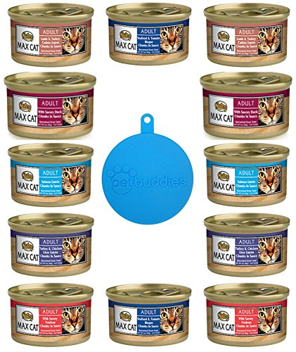 Nutro Max Cat Adult Canned Food 6 Flavor Variety Bundle (12 Cans Total, 3 Ounces Each) Plus 1 Pet Buddies Silicone Cat/Dog Food Can Cover -- 13 Items Total (Nutro Max Canned Cat Food compare prices)