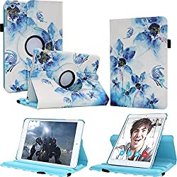 iPad mini 1/2/3 Leather Smart Case with Wake/Sleep Feature Shockproof Rotating Stand Cover for Apple iPad mini 1 / iPad mini 2 / iPad mini 3 - FIII 360 Rotating Leather Case (Fantastic Flower)