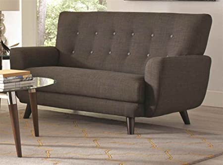 Contemporary Loveseat with Contrast Buttons