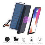 Wireless Charger Solar Power Bank-TJFOREVER 10000mAh Waterproof Solar Charger with QI Fast Wireless Charging Pad,3 Foldable Solar Panels,Dual USB,LED Flashlight for IPhone X/8/8 Plus,S8 (black) (Color: white)