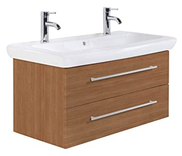 Bathroom vanity unit Keramag IT! 100 cm double washbasin light oak satin