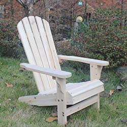Songsen Kid's Outdoor Log Wood Adirondack Lounge Chair Patio Deck Garden Furniture-Natural