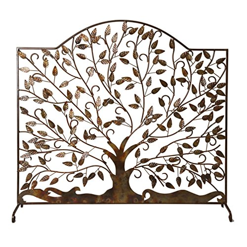 Handcrafted Decorative Fireplace Iron Screen, Tree Design 35
