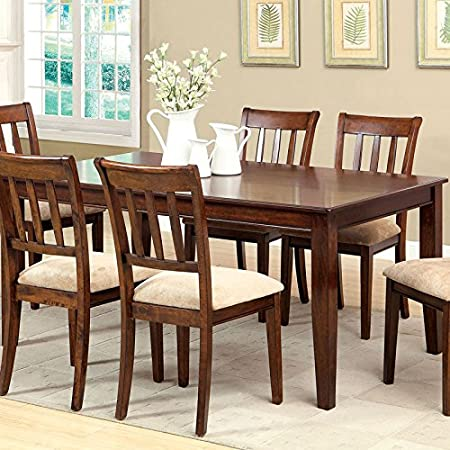 Plainville Transitional Style Brown Cherry Finish 7-Piece Dining Table Set
