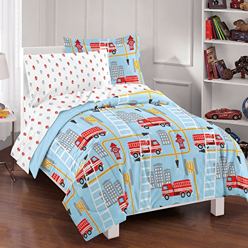 Dream Factory Fire Truck Ultra Soft Microfiber Comforter Set, Twin, Blue (Fire Truck Comforter Set compare prices)