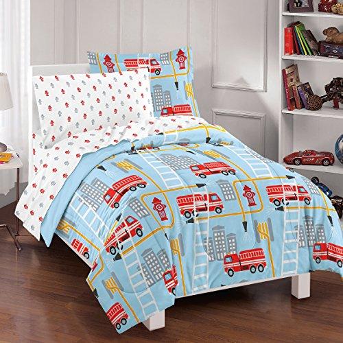 Dream Factory Fire Truck Ultra Soft Microfiber Comforter Set, Full, Blue (Truck Comforter compare prices)