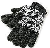 (マルカワジーンズパワージーンズバリュー) Marukawa JEANS POWER JEANS VALUE 手袋 メンズ グローブ スマホ対応 スマートフォン対応 ニット 鹿柄 トナカイ 裏ボア 3color (Free, ブラック)
