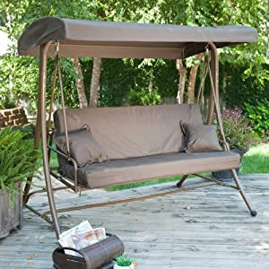 Coral Coast Coral Coast Siesta 3 Person Canopy Swing Bed -, Chocolate, Metal, 74L x 49W x 71H in.