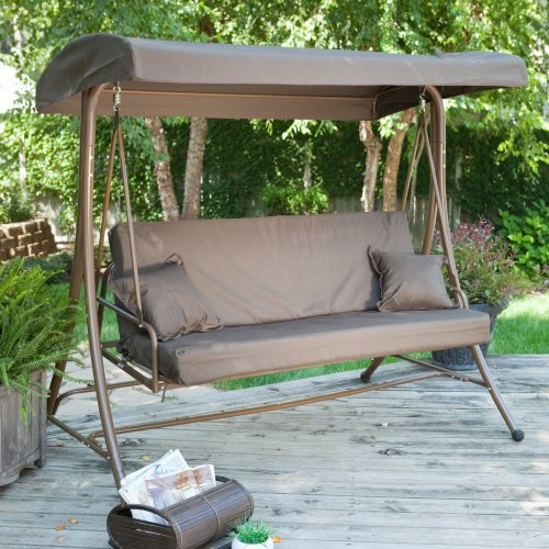Coral Coast Coral Coast Siesta 3 Person Canopy Swing Bed -, Chocolate, Metal, 74L X 49W X 71H In. front-342187