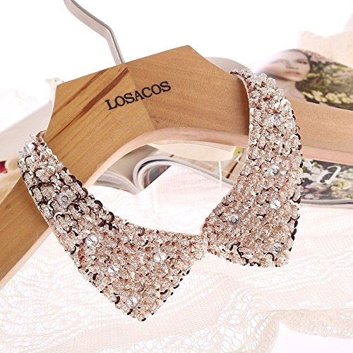 Vintage Gold Sequin beads knitted cloth Ribbon Fake collar Choker Necklaces NK. (Guess Kids Shoes compare prices)