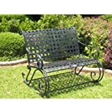 International Caravan Mandalay Wrought Iron Patio Double Rocker - Antique Black