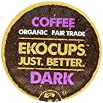 EKOCUPS Organic Artisan Coffee, Dark, Dark roast for Keurig K-cup single serve Brewers, 0.45 Ounce, 10 count from Crazy Cups
