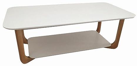 Couchtisch Dakoro 36, Farbe: Weiß / Natur, teilmassiv - Abmessungen: 42 x 120 x 60 cm (H x B x T)