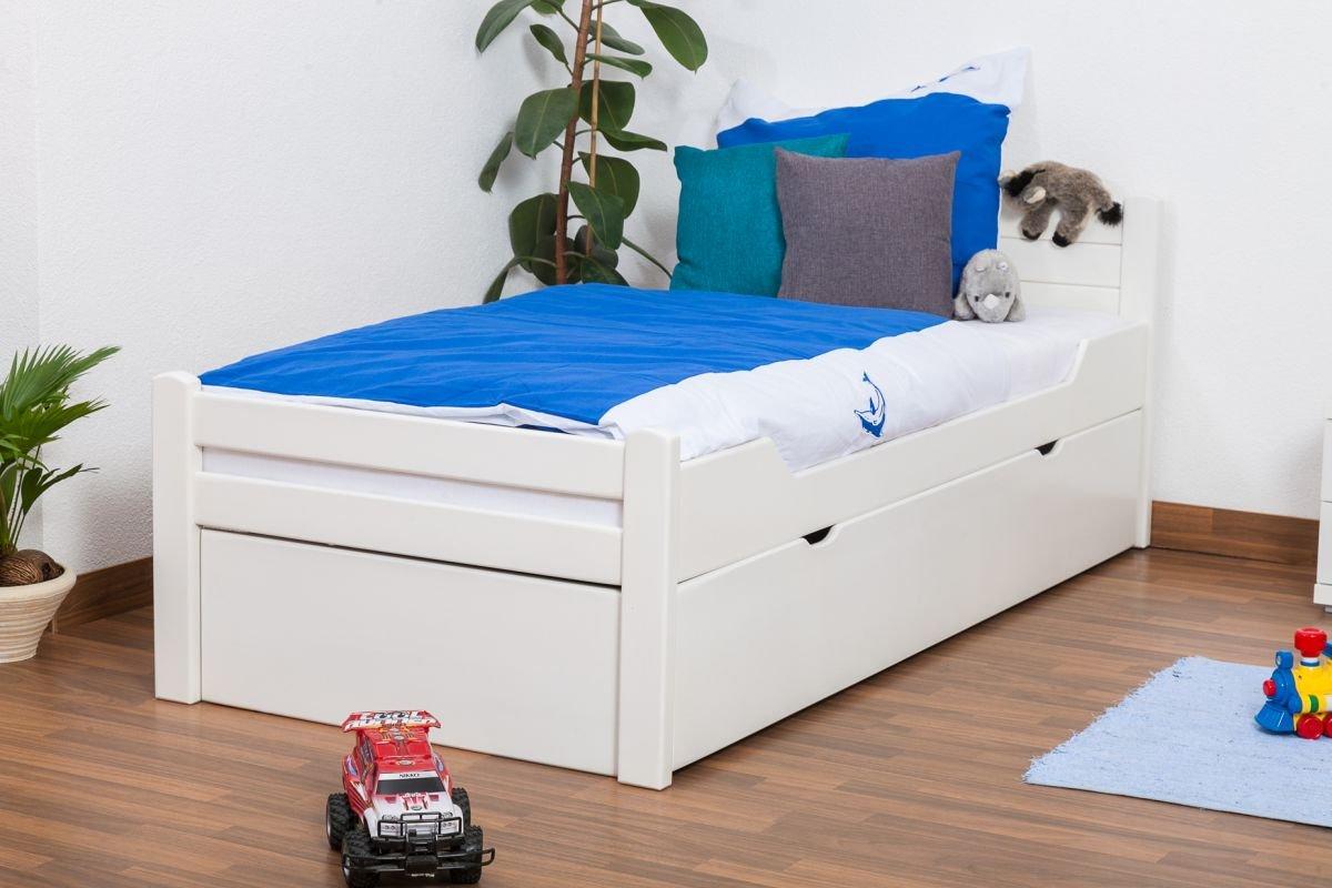 """Kinderbett / Jugendbett """"Easy Sleep"""" K1/h Voll inkl. 2. Liegeplatz und 2 Abdeckblenden, 90 x 200 cm Buche Vollholz weiß lackiert online kaufen"""