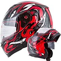 VIPER Modular Dual Visor Motorcycle / Snowmobile Helmet DOT Approved (IV2 Model #953) - RED (L) from Ivolution Sports, Inc