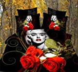 MBIGM Home Textile, Unique 3d Bedding Sets, Marilyn Monroe Rose Bedding Set, Beautiful Black Bedding Sets, 4pcs Bed Sets, Queen Size, Comforter Not Included