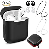 AirPods Case, Netspower AirPods Accessories with Silicone Airpods Protective Cover, 2 Pairs of Secure Ear Hooks, 2 Anti-lost Straps and 1 Headset Receiving Box Exquisite and Durable (Black)