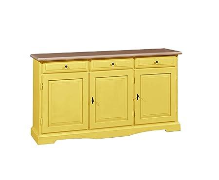 Credenza in legno massello finitura giallo, con 3 porte e 3 ampi cassetti 156x85