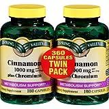 Spring Valley - Cinnamon 1000 mg Plus Chromium, Twin Pack, 2 Bottles of 180 Capsules