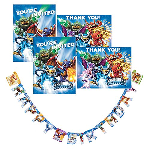 Skylanders Party supplies for 16 guests - invitations, Thank you cards and birthday banner