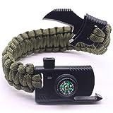 Tmrow 1pc 5 in 1 Outdoor Survival Paracord Bracelet Gear Escape Rescue Parachute Cord Wristbands Emergency Rope Flint Fire Starter Buckle Whistle Compass Kits (Color: As picture, Tamaño: As description)
