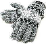 (シンサレート) Thinsulate 手袋 メンズ グローブ ニット 雪柄 ノルディック 高機能中綿素材 4color (Free, ミディアムグレー)