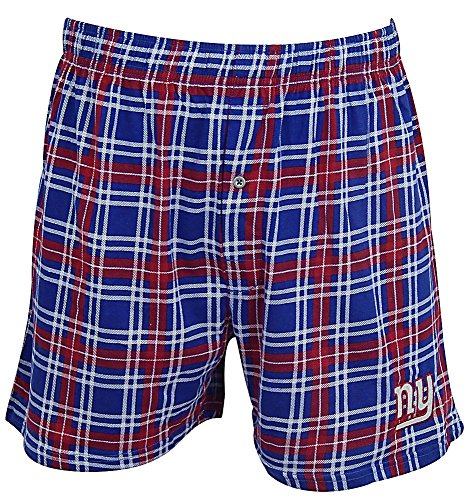 New York Giants Mens Plaid Countdown Boxer Shorts by