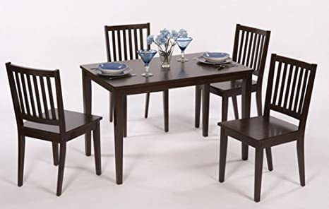 Dining Table and Chair Set - This 5 Piece Kitchen or Dining Room Furniture Is Sturdy and Durable - Made of Rubberwood - Great Accent Decor for Your Home - Satisfaction Guaranteed! (Espresso)