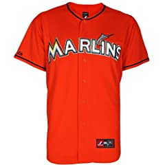 MLB Youth Miami Marlins Firebrick Alternate Replica Baseball Jersey by Majestic