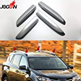 D-World4Pet- 4Pcs For Toyota Rav4 Rav 4 Xa40 2013 2014 2015 2016 2017 2018 Silver Roof Rack Bar Rail End Replacement Cover Shell Accessories