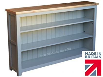 100% Solid Wood Low Bookcase, Bordeaux F&B Painted 5ft Wide Low Bookshelves. No flat packs, No assembly. You Choose the Paint Finish! (BDX35BK)