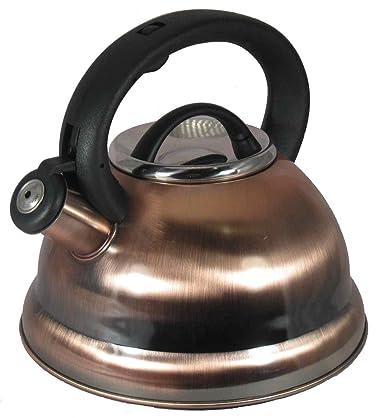 Alpine Copper Finish Encapsulated Base 18/10 Stainless Steel Whistling Tea Kettle Pot
