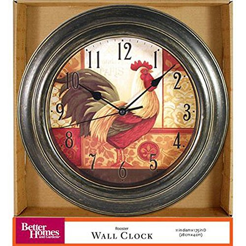 Rooster Battery Operated Wall Clock 11 inch Diamenter