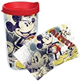 Tervis Pop Wrap Tumbler with Red Lid, 16-Ounce, Disney Mickey Mouse