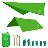 WEHE Hammock Rain Fly Tent Tarp. Waterproof Camping Shelter. Stakes Included. Lightweight. Fast Easy Setup. 210T Ripstop Polyester Taffeta (10' (L) x 10' (W)) (Green) (Color: Green)