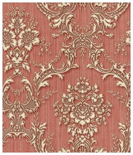 Zambaiti parati - Carta da parati damascata e floreale con fondo rosso effetto tessuto striato e stampa a rilievo in raso lucido oro Z4149 Satin flowers in vinilico
