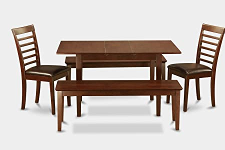 East West Furniture NOML5C-MAH-LC 5-Piece Kitchen Nook Dining Table Set