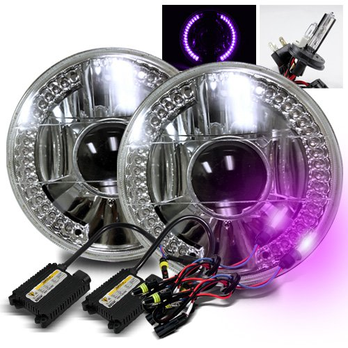 """12000K Purple H4-2 Low Beam Xenon/High Beam Halogen Slim Hid/7"""" Round 6014/6015/6024 Chrome Projector Headlights With Purple Led Ring"""