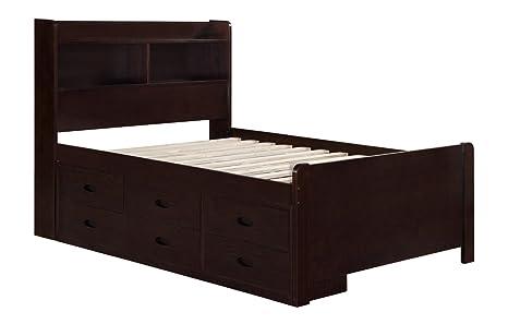 Boraam 96122 Captain's Bed, Full, Cappuccino