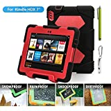 """ACEGUARDER Shockproof Case for Kindle Fire HDX 7"""" Rainproof Waterproof Shockproof Kids Proof Case for Kindle Fire HDX 7""""(only Fit Kindle Fire HDX 7 2013) (Gifts Outdoor Carabiner + Whistle + Handwritten Touch Pen) (BLACK/RED)"""