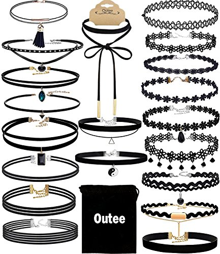 Womens Velvet Black Choker Necklaces